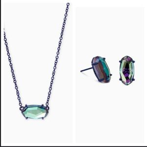 NWT KENDRA SCOTT Dichroic Necklace Earring SET